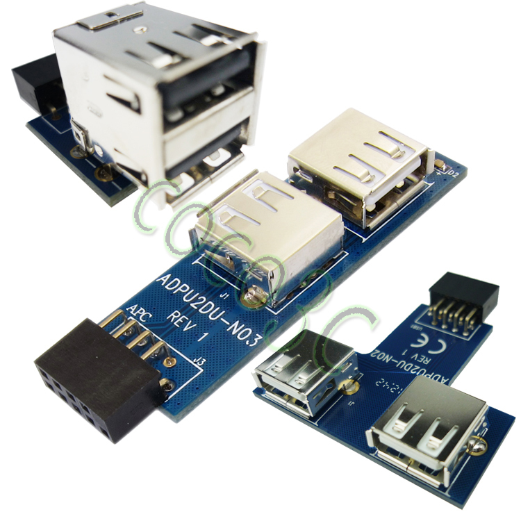 Motherboard I Type 9 PIN USB 2.0 Header to 2 Ports USB 2.0 A Female Adapter NEW