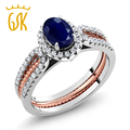 GemStoneKing 1.64 Ct Oval Natural Blue Sapphire Two-Tone Rings For Bride Vintage 925 Sterling Silver Wedding Band Insert Ring