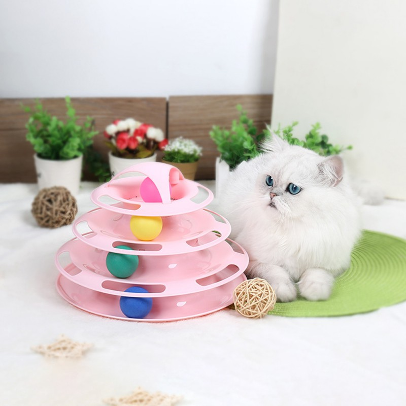 Pet Cat IQ Training Toys Three Layers Kittens Turntable With Balls Solve-Boredom