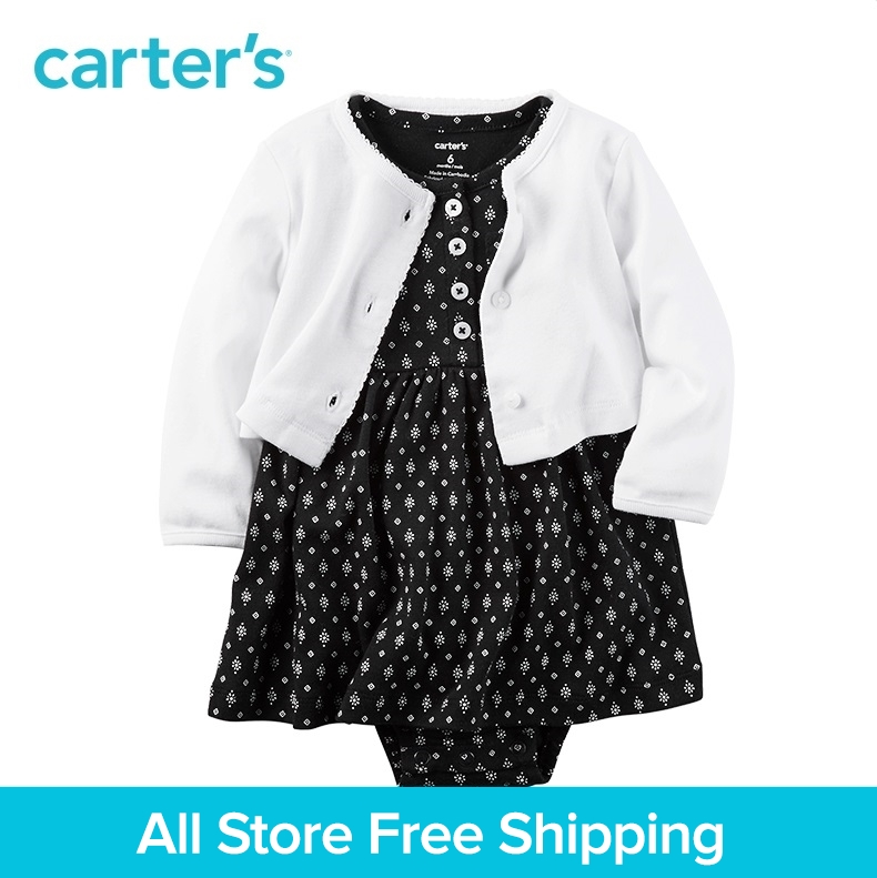 Carters 2pcs baby children kids 2-Piece Traveler Babysoft Bodysuit Dress&Cardigan 126G526,sold by Carters China official store