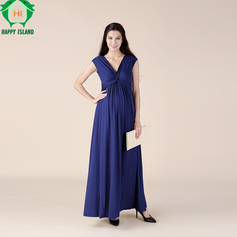 Brand Maternity Clothes Elegant Maternity Dress Formal Evening Party Gowns+Sashes For Pregnancy V-Neck Office Lady Vestidos