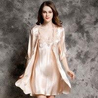 Пикантные Роскошные Для женщин шелк рубашка халат наборы высокое качество 100% шелк спальный платье с длинными рукавами халат комплект одежд