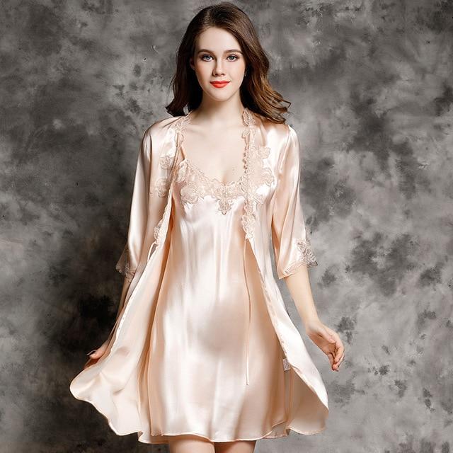 97f51606e650 Sexy Luxury Women Silk Nightdress Robe Sets High Quality 100% Silk Sleeping Dress  Long-Sleeved Bathrobe Lounge Set P9939