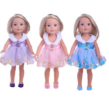 ZWSISU 3 Colors Lace Chiffon Stitching Princess Dress for fit 14.5 inch American Girl Doll Wellie Wishers Accessories