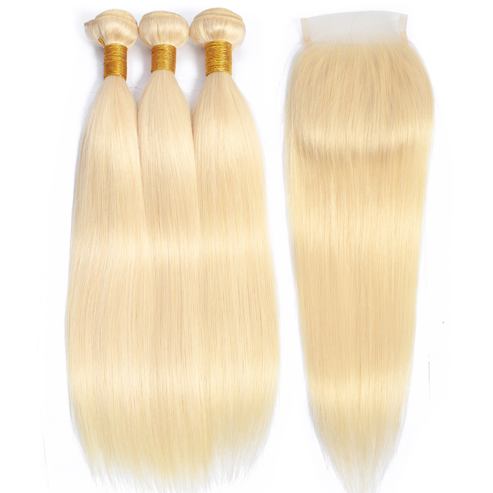 Beauty Grace Straight Bundles Honey Blonde 613 Bundles With Closure Non Remy Brazilian Human Hair Weave