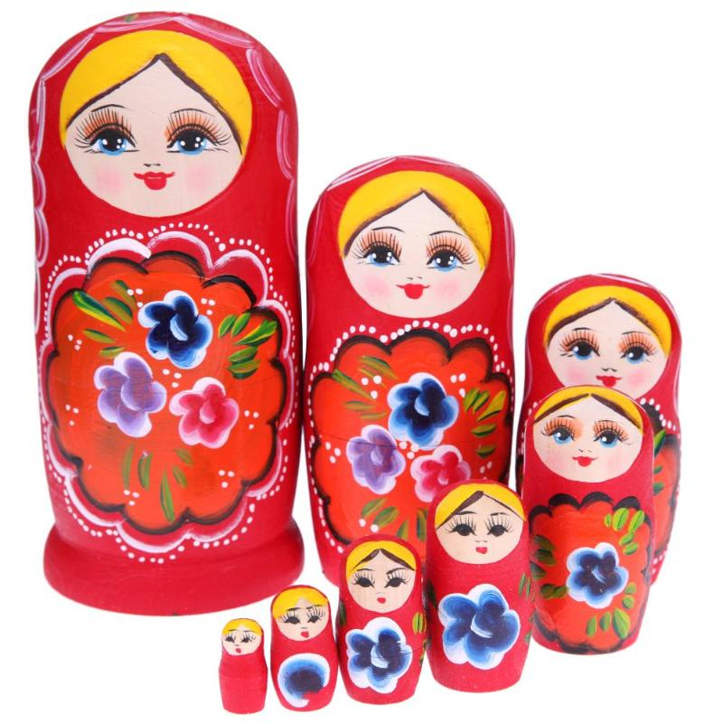 5/7/8pcs Wooden Russian Matryoshka Doll Handmade Painted Red Girls Nesting Dolls Christmas Gift for Children