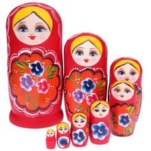 5/7/8pcs Wooden Russian Matryoshka Doll Handmade Painted Red Girls Nesting Dolls Christmas Russian Doll Gift for Children mnotht 7 layer wooden russian dolls handmade paint animal pattern tasteless dry basswood matryoshka doll education toys l30