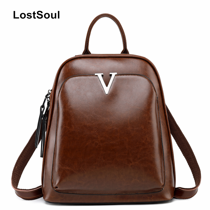 LostSoul fashion vintage stone pattern bags V bags oil wax leather backpack natural girl mochilas mujer