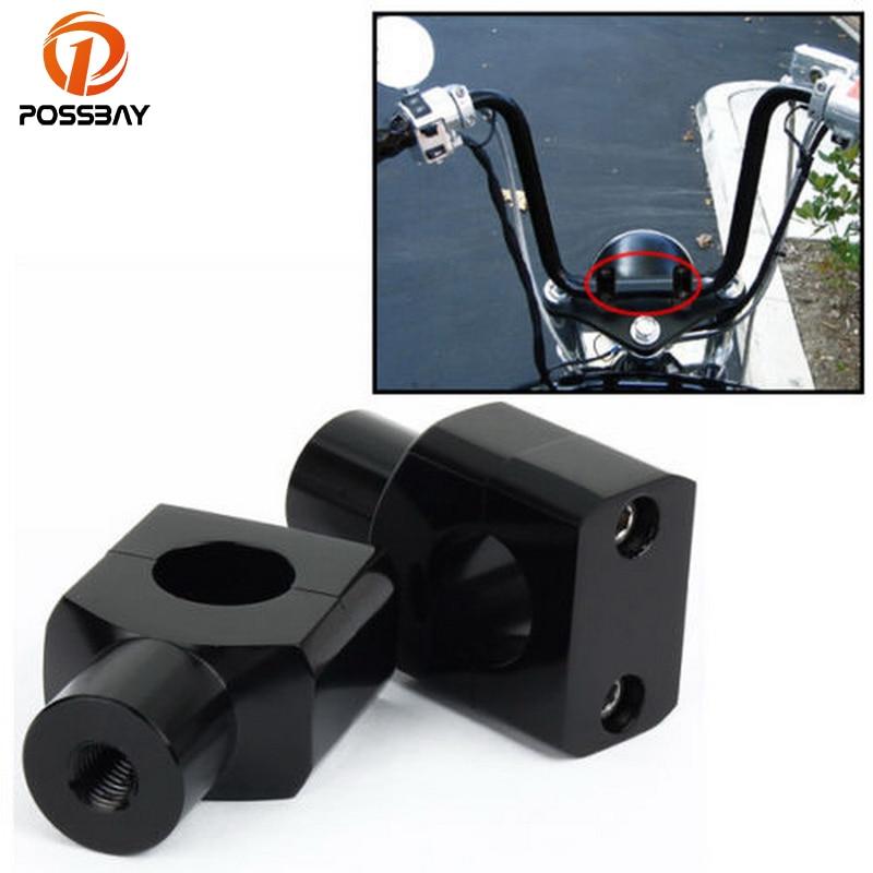 POSSBAY Black 25MM 1 Universal Aluminum Motorcycle Handlebar Mount Clamp Riser Handle Bar Risers For Honda