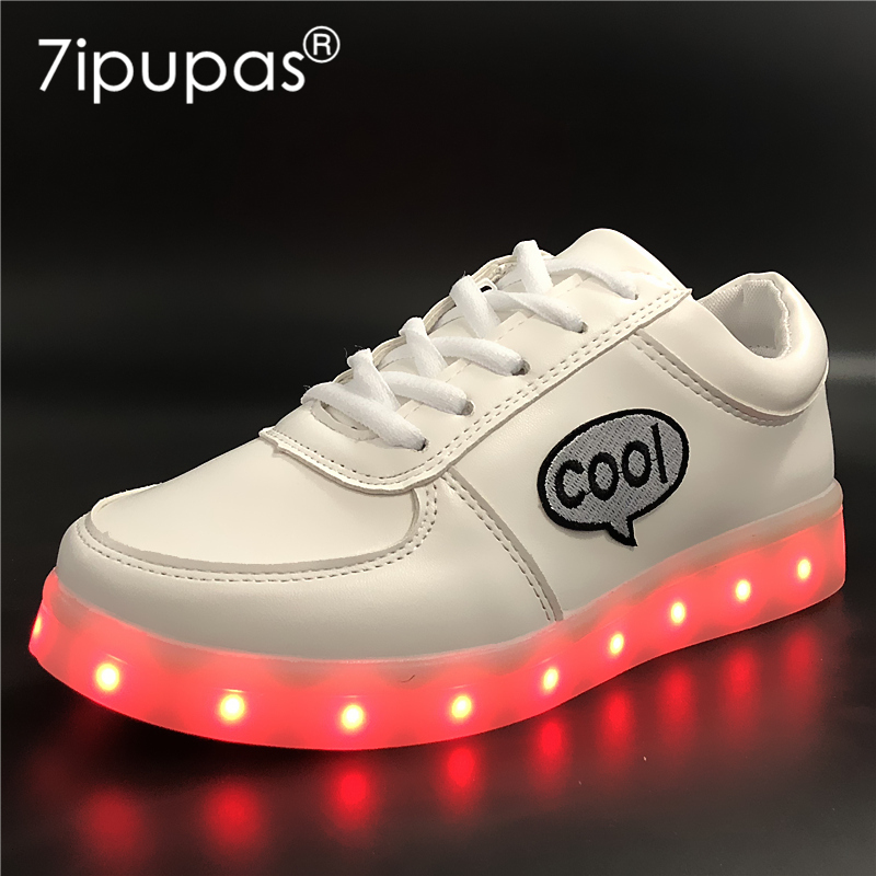 7ipupas EUR 30-44 DIY Boys/Girls kids led shoes glowing shoes with COOL Letter Embroidery sticker USB Charger Luminous Sneaker