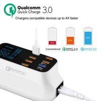 Мобильный телефон USB Зарядное устройство Quick Charge 3,0 Smart Тип usb C Зарядное устройство станции СВЕТОДИОДНЫЙ Дисплей быстро адаптер для зарядки ...