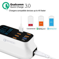 Mobile Phone USB Charger Quick Charge 3.0 Smart USB Type C Charger Station Led Display Fast Charging Power Adapter Desktop