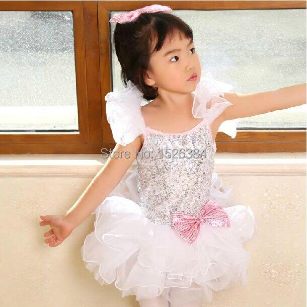 Sequin Pink Bow Ballet Tutu Dress Children Adult White Dance Costume C19