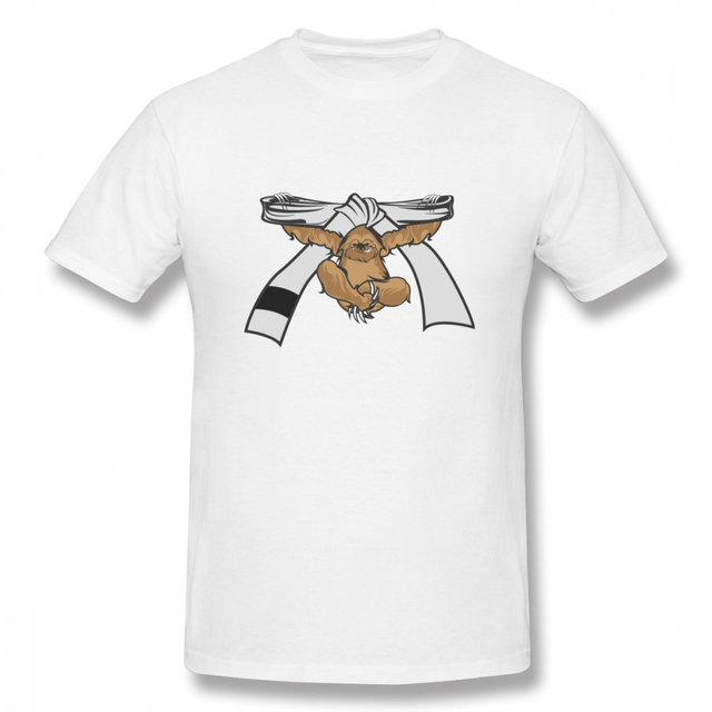 e7f336b37 Sloth Jiu Jitsu Shirt Bjj White Belt Tees Geek Tee Male 100% Cotton ...