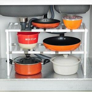 Image 1 - 調整可能なキッチン収納棚食器棚オーガナイザースパイスラック浴室付属品省スペース靴ラックホルダー本棚
