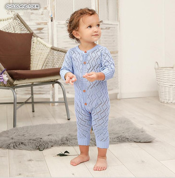 Knitted Baby Romper Newborn Baby Clothes Autumn Hollow Long Sleeve Infant Baby Jumpsuit Cotton Baby Boy Girl Romper Clothes фото