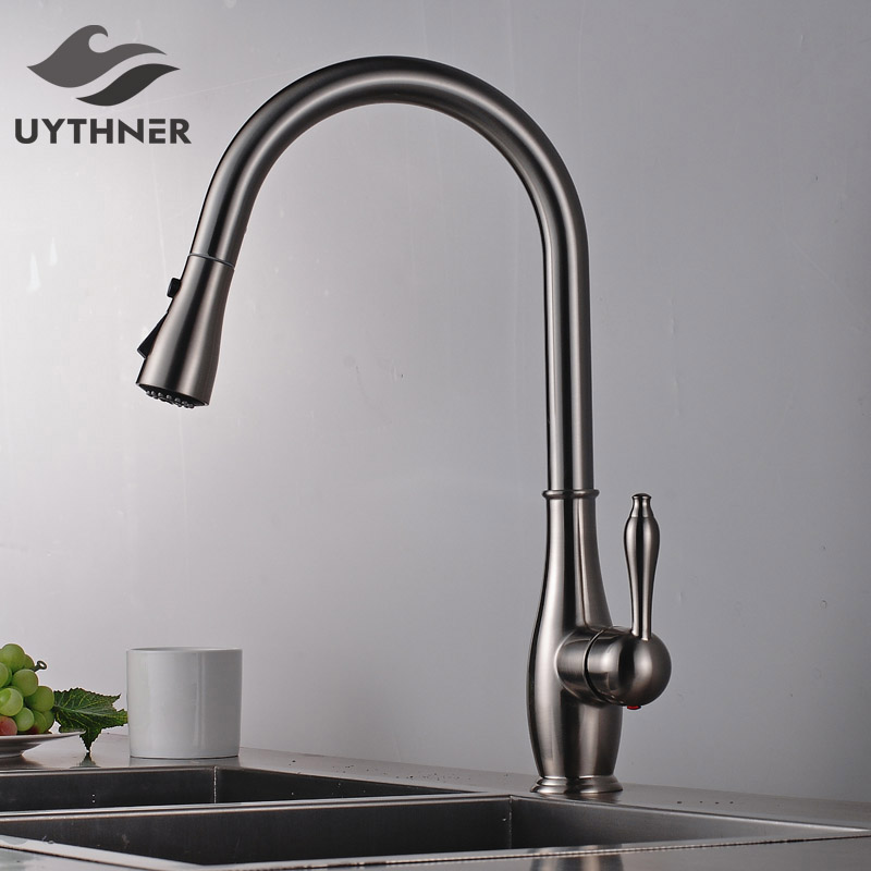 Nickel Brushed Solid Brass Kitchen Faucet 2-ways Outlet Mixer Tap Pull Out Swivel Spout Faucet Deck Mounted kemaidi fashion deluxe kitchen faucet mixer tap deck mounted kitchen faucet nickel brushed brass material kitchen taps