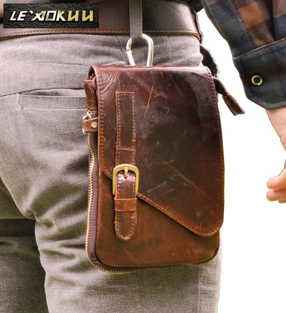Eredeti bőr férfi divat alkalmi kis Messenger Mochila Crossbody táska tervező horog derék öv csomag cigaretta tok táska 611-1