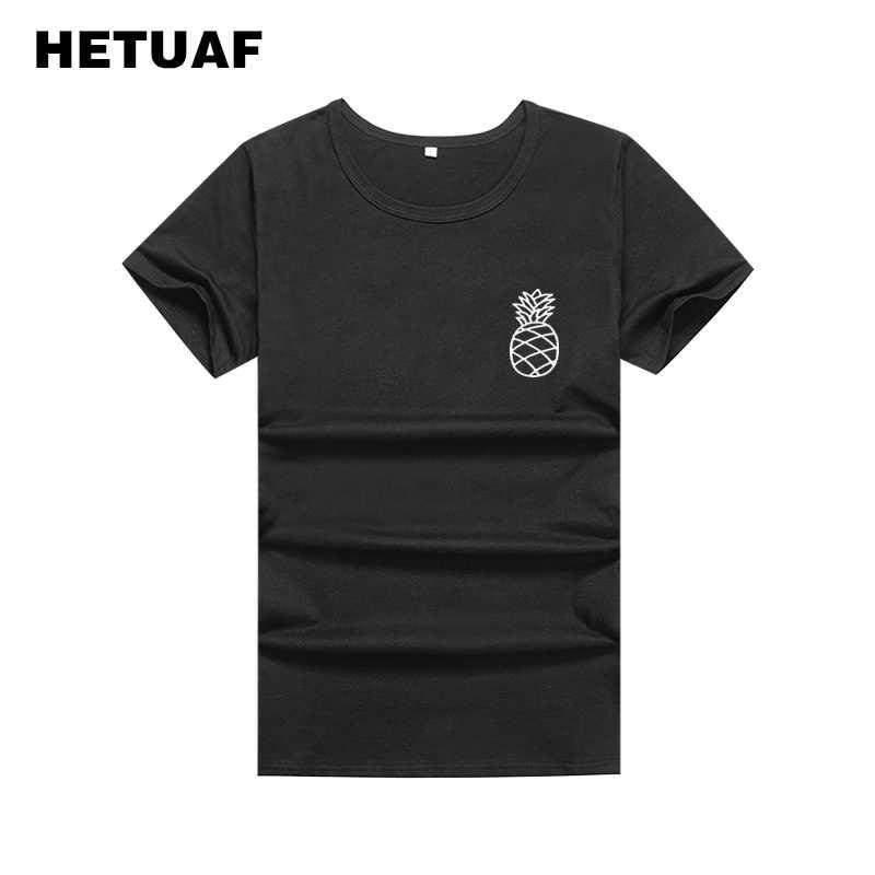Abacaxi HETUAF Ulzzang Harajuku Bolso Graphic Tees Mulheres 2018 Moda Preto Branco T Shirt Mulheres Básicas Soltos T-shirt Das Mulheres