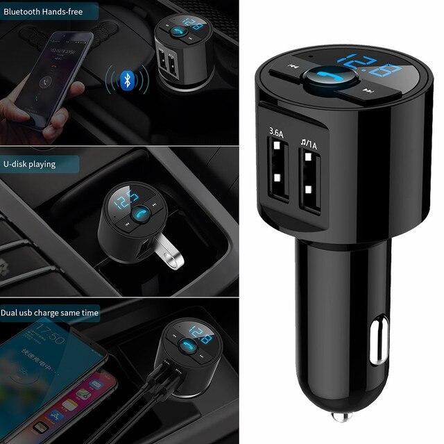 1 * Kit de coche Bluetooth Host MP3 50-100mA DC12V transmisor FM inalámbrico cargador Dual USB manos libres de alta velocidad USB2.0 #7