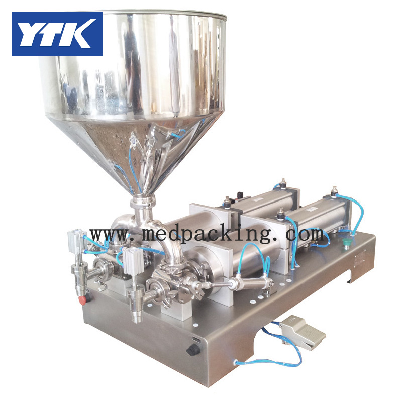 YTK 5-100ml Double Heads Cream Shampoo Cosmetic Automatic Filling Machine Grind