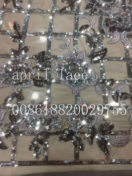 ju002 grey silver paillette grid flower embroidery nice fabric for evening dress/wedding/fashion design,send by dhl