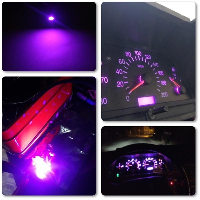 10x5050 1SMD T5 B8.5D светодиодные лампы, розовые, фиолетовые, универсальные, подходят для автомобильной приборной панели, предупреждающий индикато...