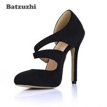 цена на Batzuzhi 12cm Fashion Shoes Women Pointed Toe Black Suede High Heels Women Pumps Designer's Party, Wedding Shoes, Big Size 35-43