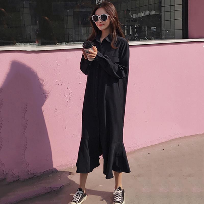 Простое весенне осеннее платье, рубашка с длинным рукавом, однобортное женское платье, женское свободное повседневное однотонное платье с ... - 2