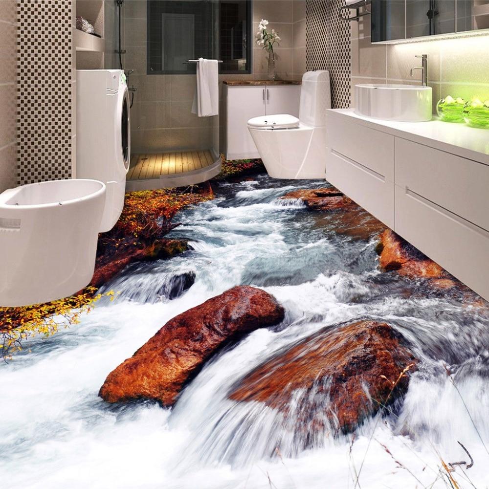 Custom 3D Floor Wallpaper Bathroom Toilet Bedroom PVC Floor Sticker Decor Waterproof Self-adhesive Vinyl Wallpaper Murals 3D