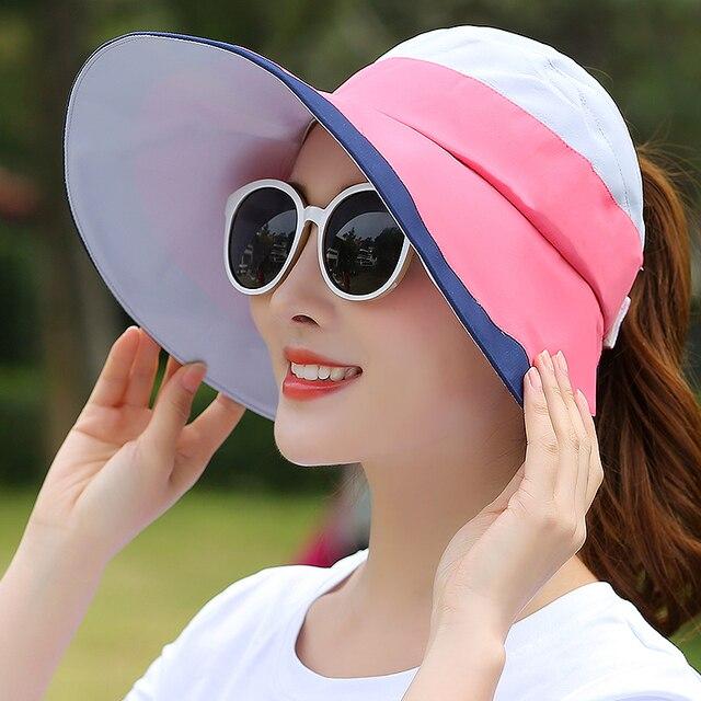Diseño de moda Anti-Ultravioleta Plegable Vacío Sol Tapa Sombrero De Verano  de Las Señoras dfd33982c08