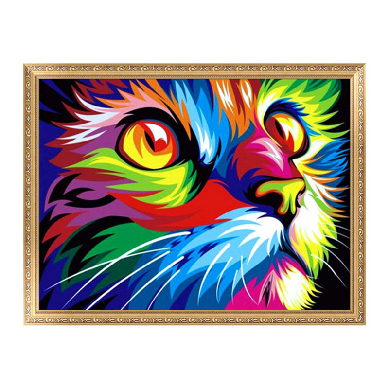 DIY 5D Diamond Embroidery Fantasy Cat Painting Cross Stitch Craft Colorful Elf On The Shelf Broderie Diamant Diamante