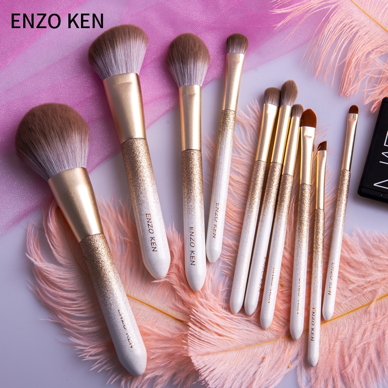 ENZO KEN 10 Pcs Makeup Brushes Set for Highlighting and Contouring Suitable for Eye and Face Makeup 3