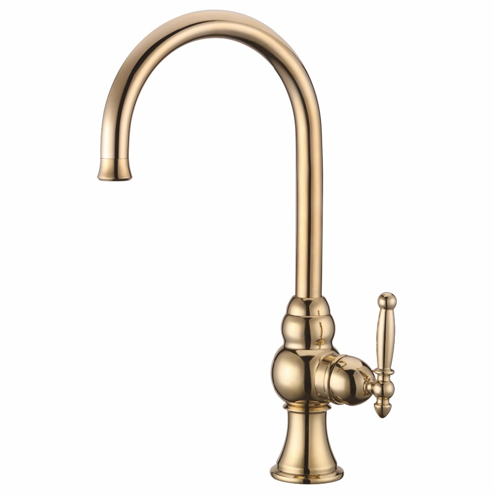 faucets taps with brass antique ceramic valve core bathroom sink faucet gold with single hold - Kitchen Sink Titanium