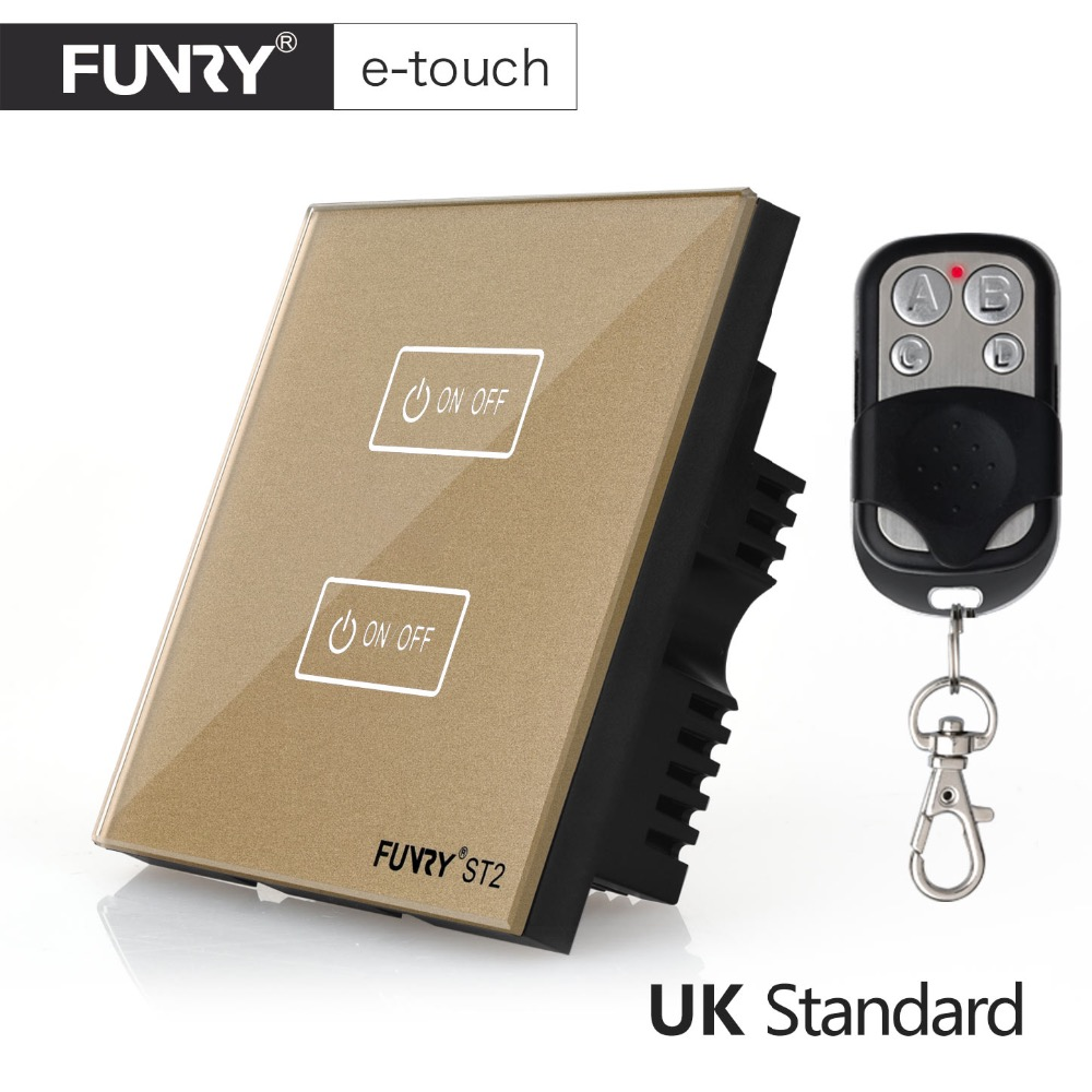 FUNRY UK Standard Wall Switch, Crystal Glass Panel,2 Gang 1 way, Remote Control Touch Switch,AC 110-250V/1000W -Black/White/Gold uk standard black crystal glass panel 2 gang 2 way wall switch intelligent touch screen light touch switch led ac 220v