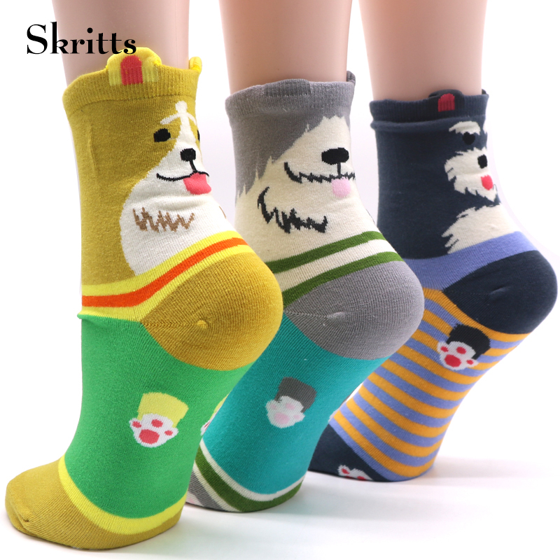 1 Pair Cartoon Women Warm Sock Winter Autumn Short Socks Fashion 3D Animals Pattern Ankel Sock Girls Lovely Cotton Blend Socks ...