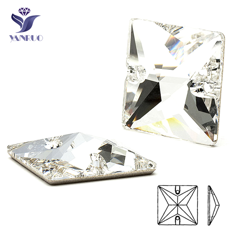 YANRUO 3240 Square 16 22mm Square Sew On Rhinestones Glass Craft Sewing Crystals AAAAAA Quality Sew Dress Stones For Clothing ...