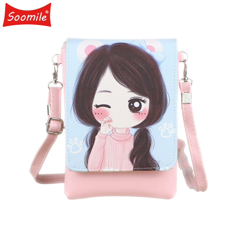 Soomile 2018 PU leather cartoon characters coin purse small pouch bags children mini messenger bag mobile bags for kids girls qzh cartoon kids children mini bags fruit messenger bags coin purse pouch handbags for kindergarten baby girls boys shoulder bag