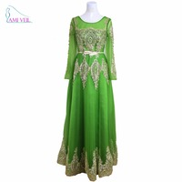 Green Beaded Gold Sequin Long Sleeve Muslim Evening Dresses Saudi Arabic Red Formal Party Prom Evening
