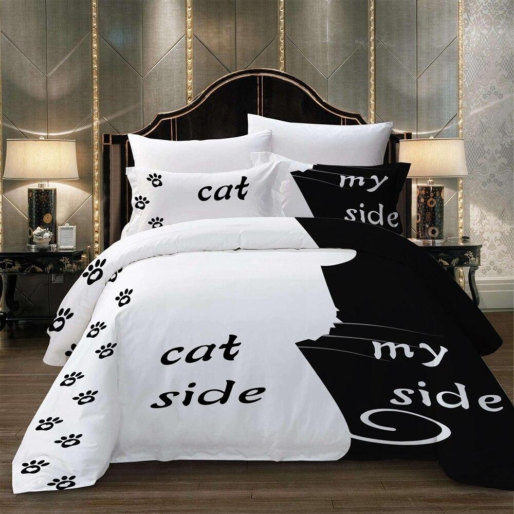 Semplice Nero + set di biancheria da letto Bianco