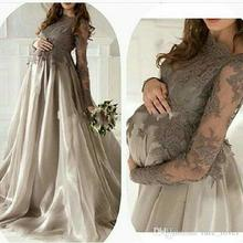 Elegant Maternity Long Sleeves Evening dress Jewel Lace Applique Organza Skirt Plus Size Pregnant Women Prom Gowns Gray V