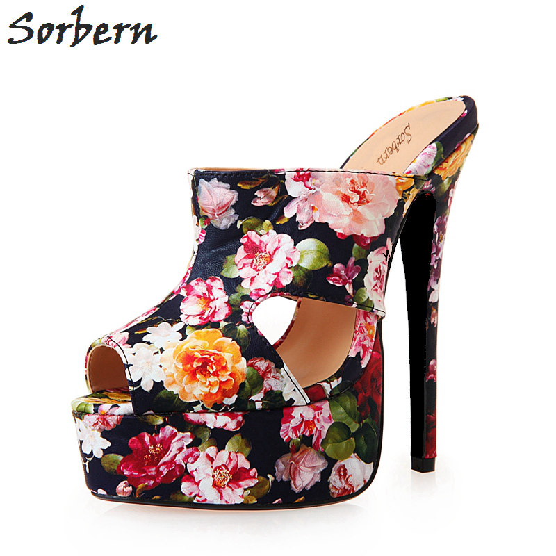 Sorbern Floral Print Women Sandal Silppers Outdoor Slides Extrem High Heels 16Cm Platform Peep Toe Shoes Women Sandals 40-48 floral patch detail peep toe sliders