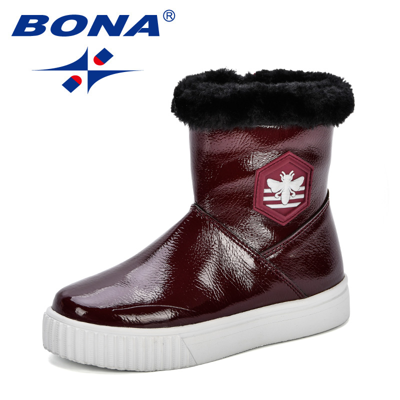 BONA 2018 New Children Winter Snow Boots Baby Boys Comfortable Non-Slip Shoes Girls Warm Trendy Boots Kids Flat School Shoes стоимость