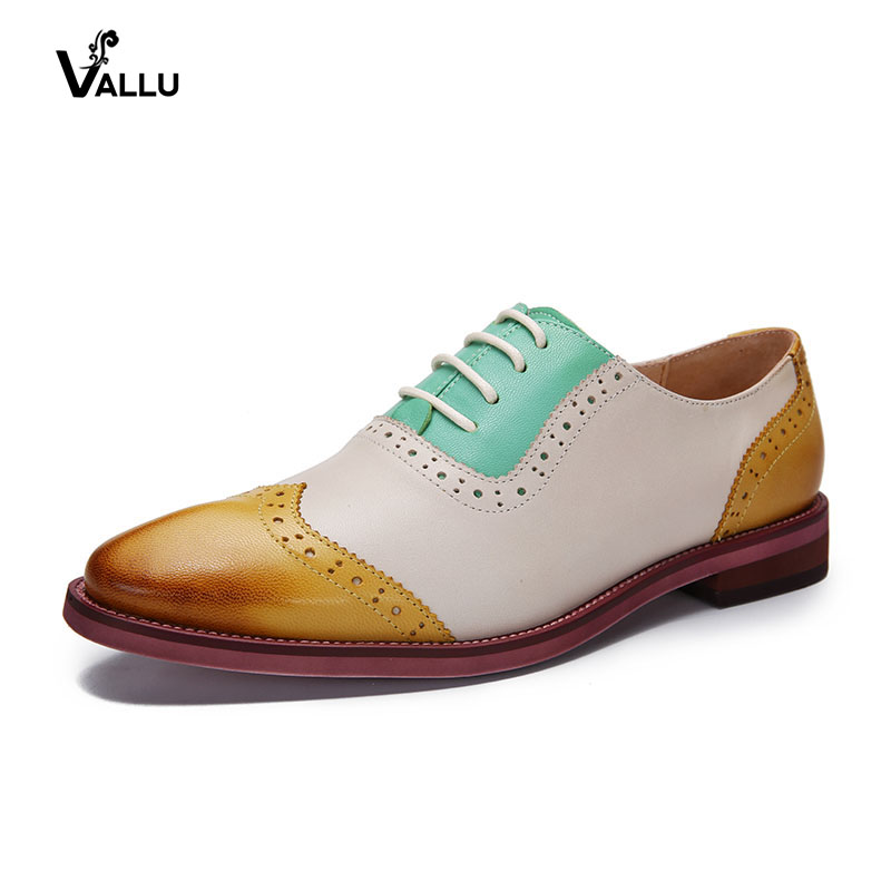 2018 VALLU Oxfords Women Brogue Shoes Genuine Leather Mixed Color Lace-Up Retro Style Handmade Women Flats women flats oxfords shoes 2017 new brogue genuine leather shoes women lace up casual brogue shoes for women handmade shoes