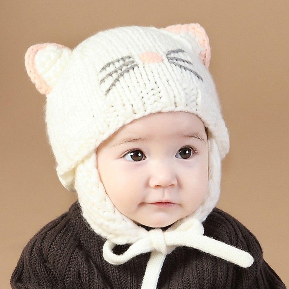Material soft newborn baby winter warm cartoon cat woven wool baby hat comfortable to wear