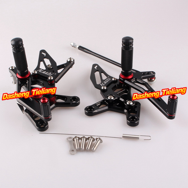 CNC Rearset Rear Set Footpegs For Kawasaki Ninja ZX6R 2007 2008 Aluminum Alloy Black, Adjustable