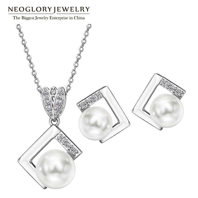 Neoglory Earrings Jewelry-Sets Zircon Simulated-Pearl-Necklaces Silver-Needle Christmas-Gifts