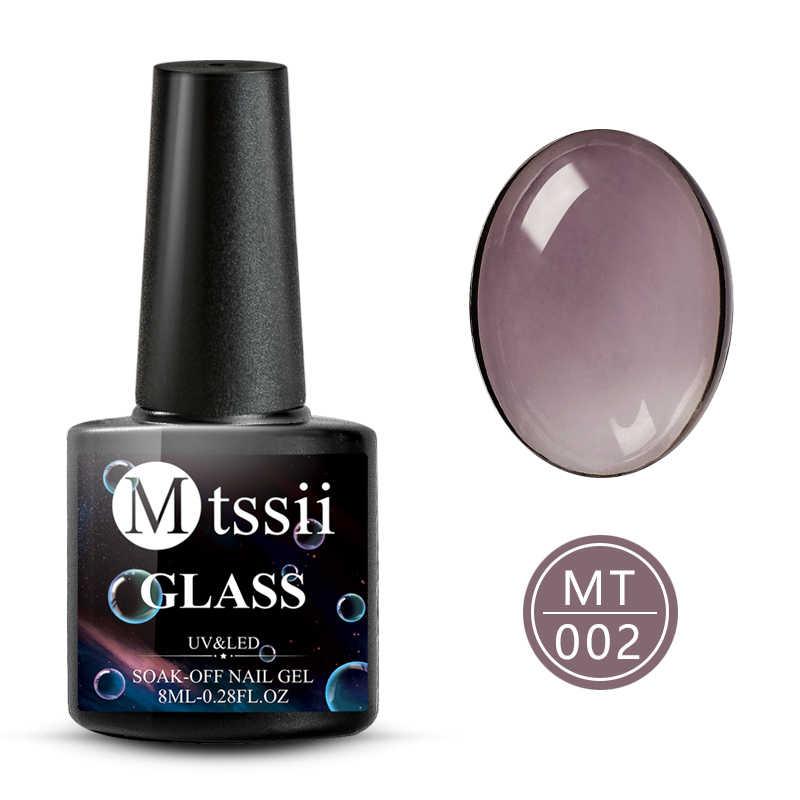 Mtssii ריבת זכוכית סוכריות ג 'ל לק 8ml קיץ תכונה שקוף ניאון צבע משרים כבוי UV לכה מראה טיטניום ג 'ל