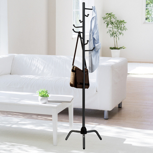 Image 1 - Coat Rack Clothes Tree Clothes Hat Tree Rack Free Standing Simple Fashion Hat and Coat Stand with 8 L Shaped Hooks Tripod Base