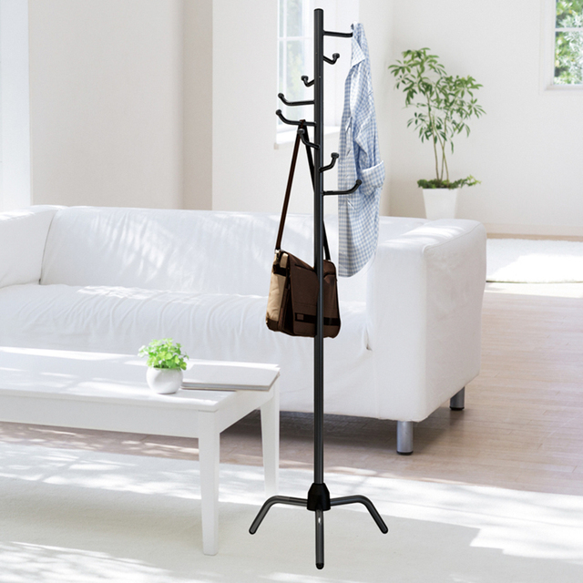 Coat Rack Clothes Tree Clothes Hat Tree Rack Free Standing Simple Fashion Hat and Coat Stand with 8 L Shaped Hooks Tripod Base